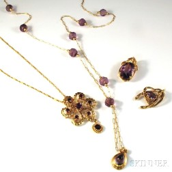 Four Pieces of Gold and Amethyst Jewelry