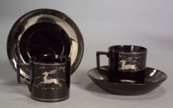 Two Wedgwood Alfred Powell Decorated Coffee Cups and Saucers