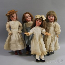 Four German Bisque Head Girl Dolls