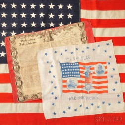 Benjamin Harrison and Levi P. Morton Silk Campaign Bandana and Two Other Textiles