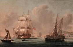 School of Thomas Whitcombe (British, 1763-1824)      War Ship at Port (Possibly Southampton)