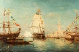 Leopold Ziller (Continental, 19th/20th Century)  Ships Before the Doges Palace.