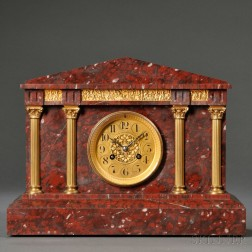 Red Marble French Mantel Clock