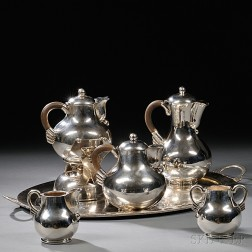 Six-piece Mexican Sterling Silver Tea and Coffee Service