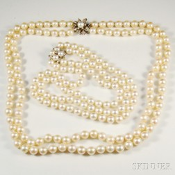 Two Double-strand Pearl Necklaces