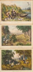 Currier & Ives, publishers (American  1857-1907)    Lot of Three:  Bear Hunting:  Close Quarters., Wild Turkey Shooting.