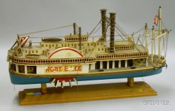 Painted Wooden Paddle River Steamboat Model of the Robert E. Lee