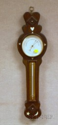 Marine-style Ivory and Mother-of-pearl Inlaid Carved Mahogany Wall Barometer/Thermometer.