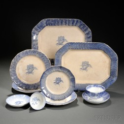 Eight Pieces of Eagle Transfer-decorated Blue Spatterware