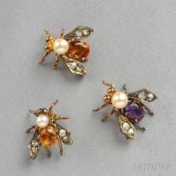 Three Gem-Set Insect Brooches
