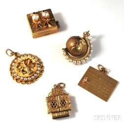 Five 14kt Gold Charms and Pendants