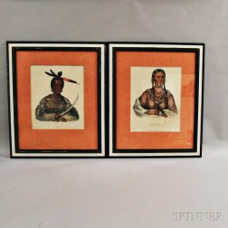 Two Hand-colored Engravings of Native Americans