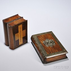 Two Book-form Cribbage Board/Boxes, England, 19th century, one oak with brass-mounted border centering a central brass mount of three f
