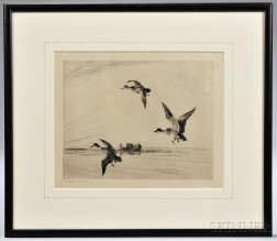 Frank Weston Benson (American, 1862-1951)  Three Ducks in Flight.  Signed FrankWBenson. in pencil l.l., partial label fr...