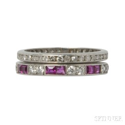 Two Platinum and Diamond Eternity Bands