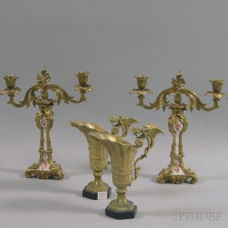 Pair of Brass and Porcelain Candelabra and a Pair of Gothic-style Brass Ewers
