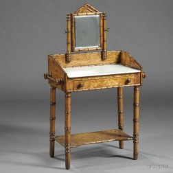 Victorian Faux Bamboo and Bird's-eye Maple Child's Washstand