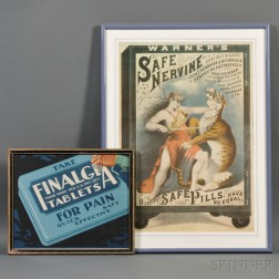 "Warner's ""Safe Nervine"" Tiger Advertising Lithograph"