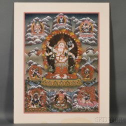 Contemporary Thangka of White Mahakala