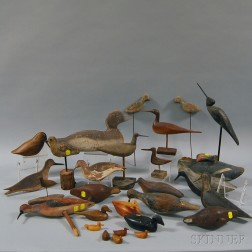 Twenty-eight Assorted Carved Wooden Decoys and Carved Birds