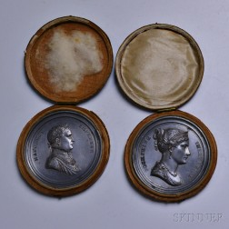 Cased Pair of Napoleon and Josephine White Metal Wedding Commemorative Medals