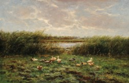Constant David Ludovic Artz (Dutch, 1870-1951)      Ducks and Ducklings at the Water's Edge