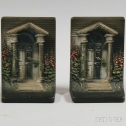 """Two Cast Iron """"Federal Doorway"""" Polychrome Painted Bookends"""