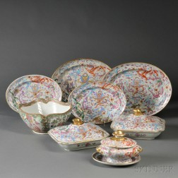 Eight Polychrome Dragon Decorated Chinese Export Porcelain Serving Dishes and a Rose   Medallion Bowl