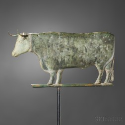 Molded Gilt Copper and Cast Zinc Bull Weathervane