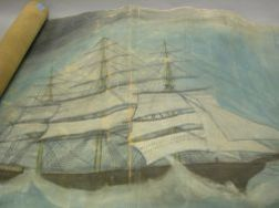 Oil on Canvas Mural of Two Sailing Ships