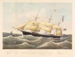Nathaniel Currier, publisher (American, 1813-1888) Clipper Ship Dreadnought. Off Sandy Hook February 23d 1854. Nineteen Days From Liv
