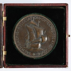 Bronze Yachting Medal, Tiffany & Co. New York, 1923, for the Yachting Association of Long Island Sound, obverse depicting a masted sail