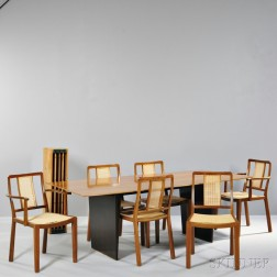 Edward Wormley for Dunbar Extension Dining Table and Six Dining Chairs
