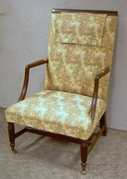 Federal-style Upholstered Carved Mahogany Easy Chair.