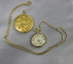 14kt Gold Locket and 18kt Gold Open Face Pendant Watch, Marcus & Co.