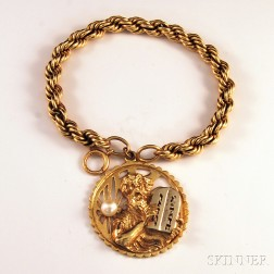 14kt Gold Ropetwist Bracelet with Moses and the Ten Commandments Charm