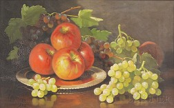 John Clinton Spencer (American, 1861-1919)      Still Life with Apples and Grapes