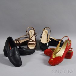 Four Pairs of Women's Prada Leather Shoes