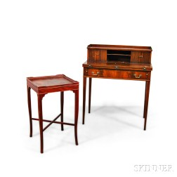 Maddox Federal-style Lady's Writing Desk and a Red-stained Side Table