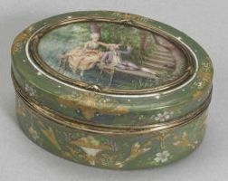 French Enamel Snuff Box with Miniature Painting to Lid