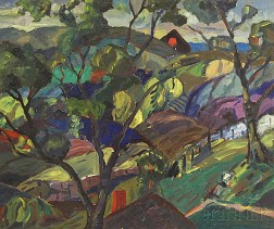 Leighton R. Cram (American, 1895-1981)      Tree in a Hilly Landscape