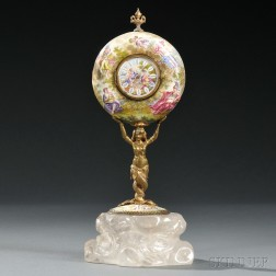 Viennese Silver, Enamel, and Rock Crystal Figural Clock