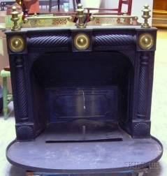 G. Postley's Patent Brass-mounted Black-painted Cast Iron Franklin Stove