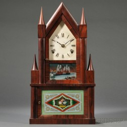 Rosewood Double Steeple Fusee Clock by Elisha Manross