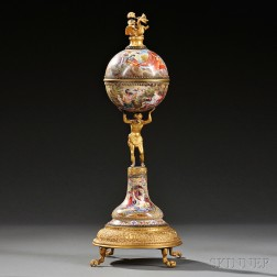 Viennese Gilt-metal and Enamel Figural Clock