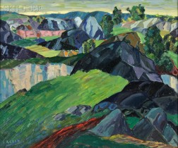 Leighton R. Cram (American, 1895-1981)      Landscape with Rolling Hills