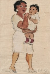 Diego Rivera (Mexican, 1886-1957)      Portrait of a Woman Holding a Child, Possibly The Mexican Mart