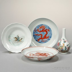 Three Famille Rose Dishes and a Cabinet Vase