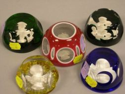 Five Faceted Sulfide Art Glass Paperweights