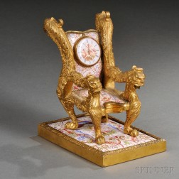 Viennese Gilt-bronze and Enamel Bergere-form Clock